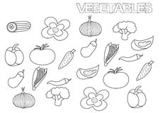Hand drawn vegetables set. Coloring book page template. Stock Photography