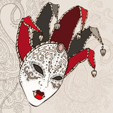 Hand Drawn Venecian  carnival mask. Stock Photo