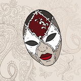 Hand Drawn Venecian  carnival mask. Stock Image