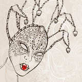 Hand Drawn Venetian carnival mask. Stock Photo