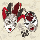 Hand Drawn Venetian carnival masks. Stock Images