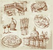 Hand drawn Venice set. Vector illustration with hand drawn of Venice Royalty Free Stock Photography