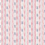 Hand-Drawn Vertical Nautical Zeppelin Bend Knots and Ropes Stripes Vector Seamless Pattern. Blue, Red Marine Background vector illustration