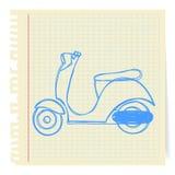 Hand drawn vespa cartoon. Hand drawn blue vespa cartoon_on paper Note stock illustration
