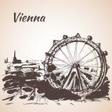 Hand drawn Vienna amusement park. Austria Royalty Free Stock Image