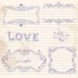 Hand drawn vignettes on notebook sheet Stock Images
