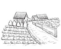 Hand drawn village houses sketch and nature Stock Images
