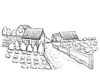 Hand drawn village houses sketch and nature Royalty Free Stock Image