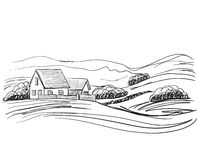 Hand drawn village houses sketch and nature Royalty Free Stock Photos