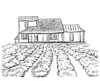 Hand drawn village houses sketch and nature Royalty Free Stock Images