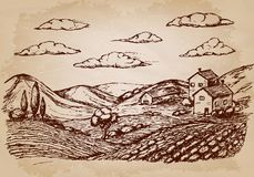 Hand drawn village houses sketch and nature. Vector illustration Royalty Free Stock Image