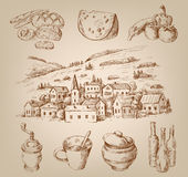 Hand drawn village Stock Image