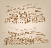 Hand drawn village Royalty Free Stock Image