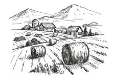 Hand drawn village Royalty Free Stock Photography