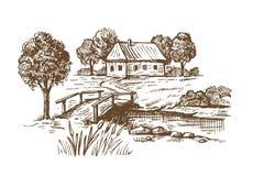 Hand drawn village Stock Photography