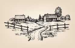 Hand drawn village Royalty Free Stock Images