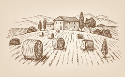 Hand drawn village Stock Images