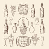 Hand drawn vineyard sketch and doodle wine vector elements Royalty Free Stock Images