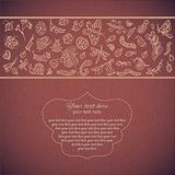 Hand-drawn Vintage abstract template with inscription and gold insects, butterflies, beetles on a brown background. Hand-drawn Vintage abstract template with Royalty Free Stock Image