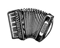 Hand-drawn vintage accordion, bayan. Music instrument, chanson, melody symbol. Sketch vector illustration. Hand-drawn accordion, bayan. Music instrument, chanson Stock Photography