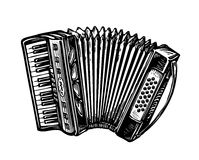 Hand-drawn vintage accordion, bayan. Music instrument, chanson, melody symbol. Sketch vector illustration. Hand-drawn accordion, bayan. Music instrument, chanson Stock Photos
