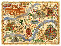 Hand drawn vintage adventures map with pirate treasures Royalty Free Stock Images