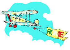 Hand drawn vintage airplane with a banner Rome.vector illustration Royalty Free Stock Photo