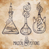 Hand drawn vintage alchemical laboratory icon Royalty Free Stock Photos