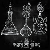 Hand drawn vintage alchemical laboratory icon Stock Image