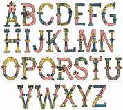 Hand drawn vintage alphabet Royalty Free Stock Images