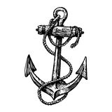 Hand-drawn vintage anchor with rope, sketch. Travel, discovery, cruise symbol. Vector illustration. Isolated on white background Royalty Free Stock Images