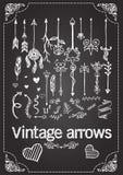 Hand drawn vintage arrows on chalkboard stock illustration
