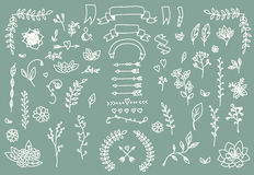 Hand drawn vintage arrows, feathers, dividers and floral elements Stock Photo