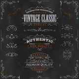 Hand Drawn Vintage Banners And Ribbons On Chalkboard Royalty Free Stock Image