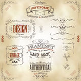 Hand Drawn Vintage Banners And Ribbons Stock Image