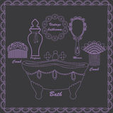 Hand drawn vintage bathroom set with antique objects for beauty and healthcare Stock Image
