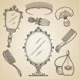 Hand drawn vintage beauty and retro makeup items Stock Photo