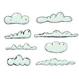 Hand drawn vintage blue clouds. Stock Photos