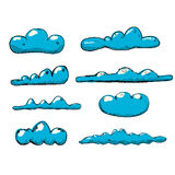 Hand drawn vintage blue clouds. Stock Photography