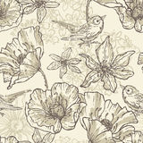 Hand drawn vintage  botanical  seamless pattern Royalty Free Stock Photo