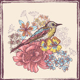 Hand drawn vintage botanical theme card with bird. All objects are conveniently grouped and are easily editable royalty free illustration