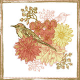 Hand drawn vintage botanical theme card with birds Stock Images
