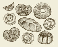 Hand-drawn vintage breads, pastries. Pie, pasty, cake, loaf, cookie, croissant, dessert. Royalty Free Stock Photo