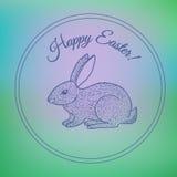 Hand drawn vintage bunny postcard. Easter design element stock illustration