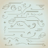 Hand-drawn vintage calligraphic  design elements set. Vector. Useful for wedding invitations, greatings cards etc Royalty Free Stock Images
