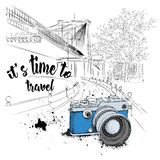 Hand drawn vintage camera  on background. Brooklyn Concept. It`s time to travel Concept.  Vector illustration Stock Image