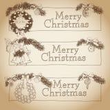 Hand drawn vintage Christmas banners Set Stock Photos