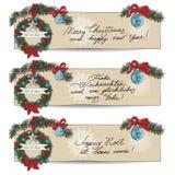 Hand drawn vintage Christmas banners Set Stock Photo