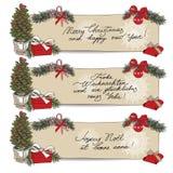 Hand drawn vintage Christmas banners Set Stock Photography