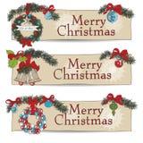 Hand drawn vintage Christmas banners Set Royalty Free Stock Photos
